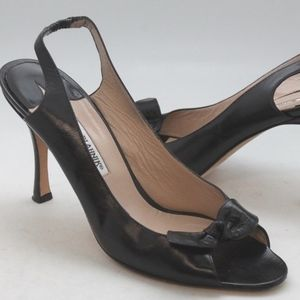 Manolo Blahnik Womens Black Leather Peep Toe